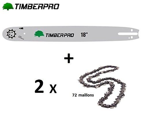 Kit Chaine Guide 50 cm, 20 pouces + 2 chaines 76 maillons pour tronçonneuse